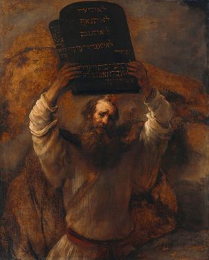 Rembrandt painting of Moses